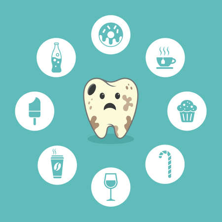Dental cartoon vector - decay - icons