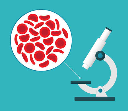 Microscope viewing red blood cells. Illustration
