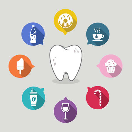 Dental cartoon with colorful icons.
