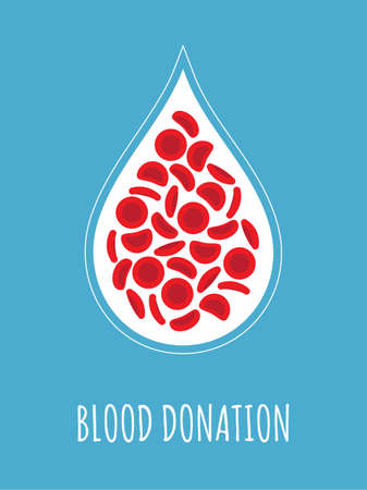Blood donation — red blood cells on a blood drop shape on a pink background - Vector illustration Foto de archivo - 95187976