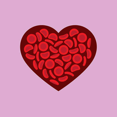 Blood donation — red blood cells on a blood heart shape - Vector illustration