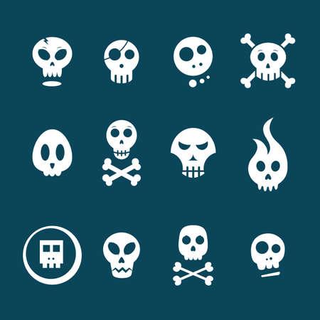 White skull icons on a dark background