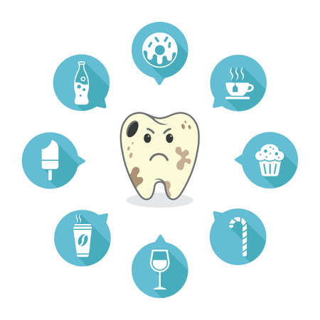 dental cartoon vector on a blue background - decay - icons