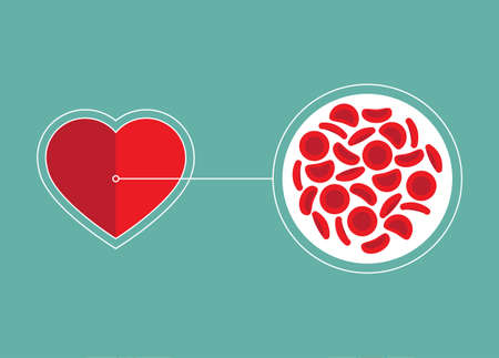 Blood Cells and heart icon - Vector illustration