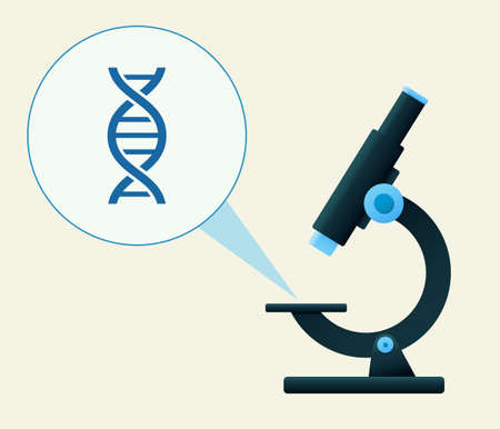 Microscope illustration with detailed view of a DNA string. Vector illustration Vectores
