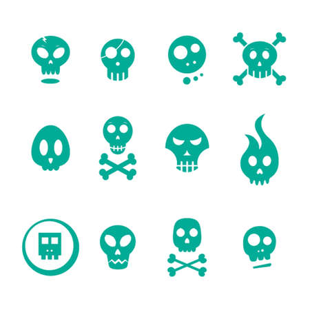 Green skull icons on a white background Foto de archivo - 97912146