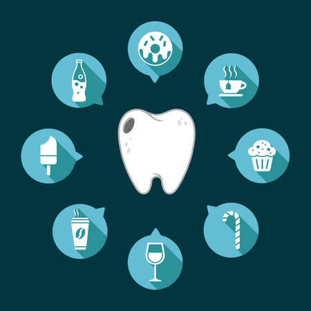 Dental tooth vector with food and drinks on a dark background