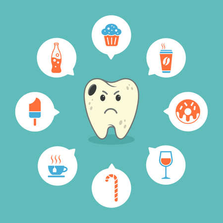 dental sad cartoon tooth with colourful icons representing tooth decay - icons Foto de archivo - 97931666