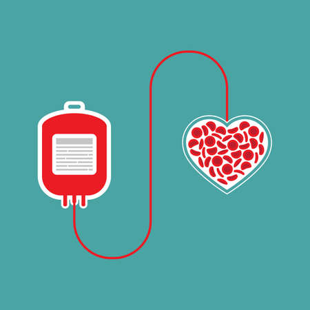 blood bag, heart and blood cells. Blood donation concept. Human donates blood. Vector illustration in flat style.