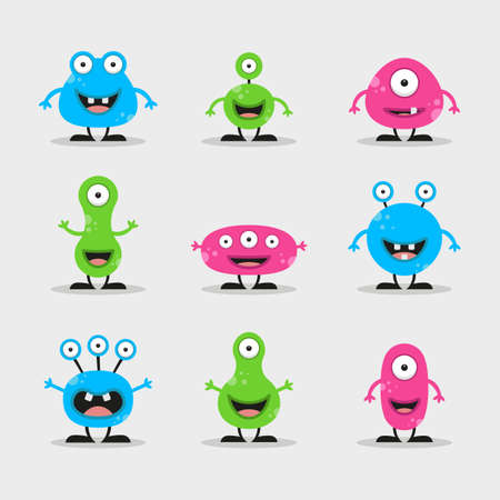 Cool, fun, cute Creature  alien - blue, green, pink & black - vector illustration