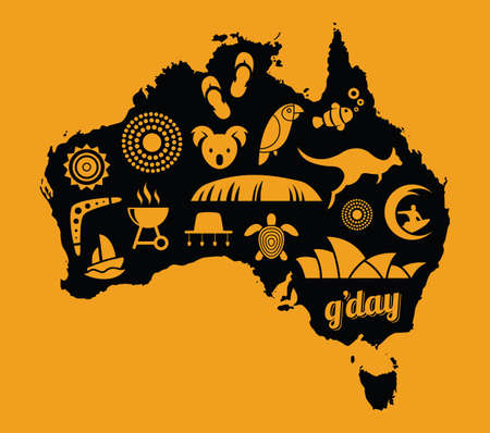 Australia icon set - orange & black - vector illustration