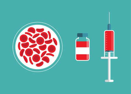 Red blood cells, syringe & bottle. Blood concept. Human donates blood. Vector illustration in flat style. Illusztráció