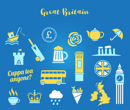 Blue, white and yellow Great Britain icon vector set. Flat icons for web and mobile Foto de archivo - 105311454