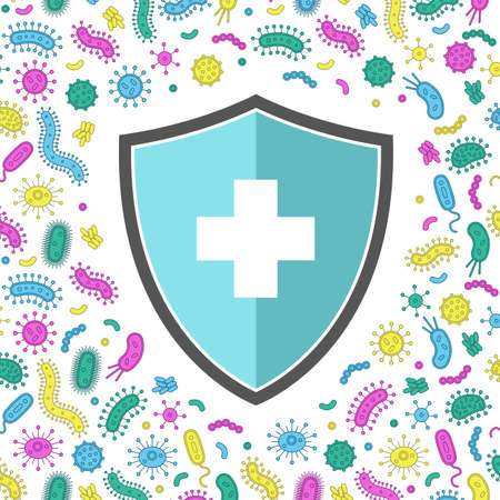 hygienic shield protecting from virus, germs and bacteria. Flat style vector illustration. Yellow, green, blue and purple