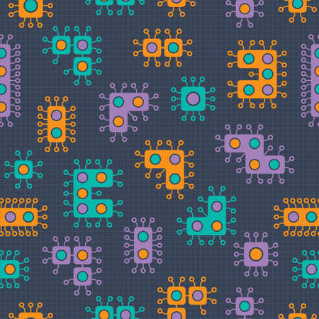 computer virus - Germs and Bacteria - vector illustration set - orange, green & purple in a repeat pattern