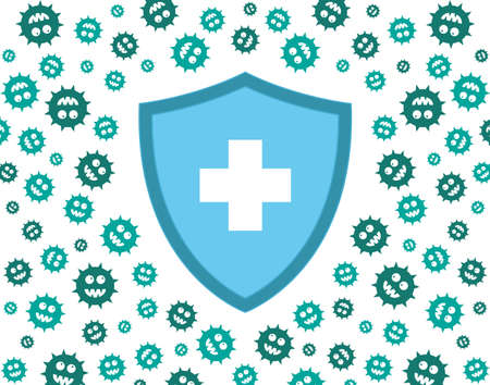 hygienic shield protecting from virus, germs and bacteria. Flat style vector illustration. Green, and blue Ilustração