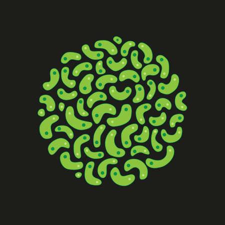 A circle of Germs  Bacteria - vector illustration - green germs - black background Illusztráció