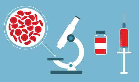 Red blood cells, Microscope syringe & bottle. Blood concept. Human donates blood. Vector illustration in flat style. Foto de archivo - 121286696