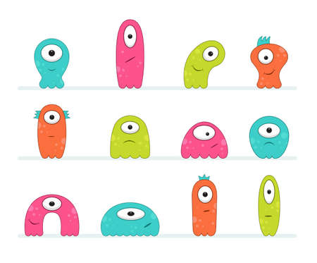Cool, fun, cute Creature / alien - blue, green, pink & orange - vector illustration Foto de archivo - 121286701