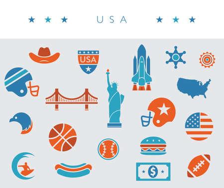 USA / America icon set - orange, white and blue - vector illustration