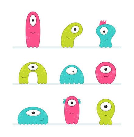 Cool, fun, cute Creature / alien - green, pink & teal - vector illustration 版權商用圖片 - 125019676
