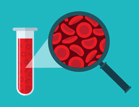 Red blood cells, Microscope and test tube. Blood concept. Human donates blood. Vector illustration in flat style. Illusztráció