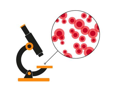 Visualizzazione al microscopio dei globuli rossi. Illustrazione vettoriale. Sfondo medico.