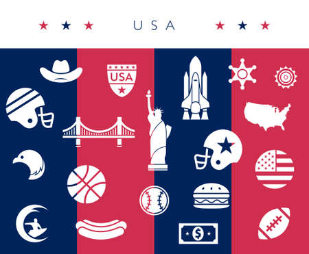 USA  America icon set - red, white and blue - vector illustration