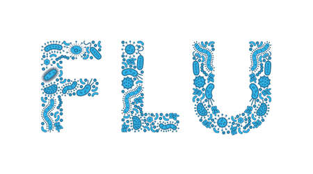 Blue germs  bacteria spelling the word Flu - Vector illustration