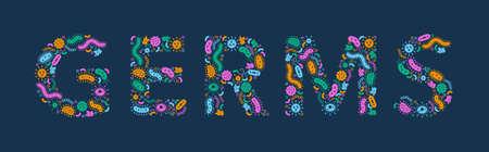 Green, orange, pink,  blue germs / bacteria spelling the word Germ - Vector illustration Illusztráció