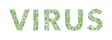 Green germs / bacteria spelling the word virus - Vector illustration Illusztráció