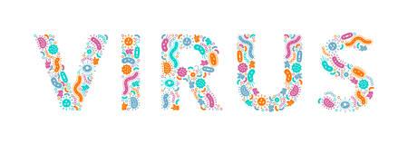 green, orange, blue, purple germs / bacteria spelling the word virus - Vector illustration 版權商用圖片 - 131587985