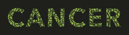 green germs / bacteria spelling the word cancer on a black background - Vector illustration 版權商用圖片 - 134947083