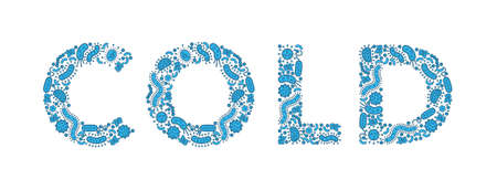 blue germs / bacteria spelling the word COLD - Vector illustration