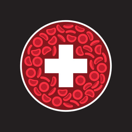 Blood Cells and cross in a circle - Vector illustration Illustration