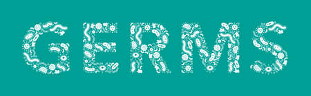 white germs / bacteria spelling the word Germ on a green background - Vector illustration Illusztráció