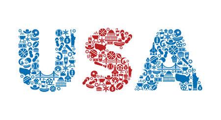 USA word icon set - red, white and blue - vector illustration Illusztráció