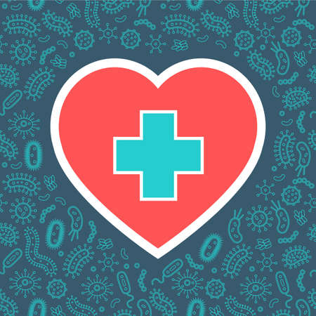 hygienic heart protecting from virus, germs and bacteria. Flat style vector illustration. Red, white, green and dark blue