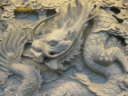 stone carving: Dragon Art Stone Carving Stock Photo
