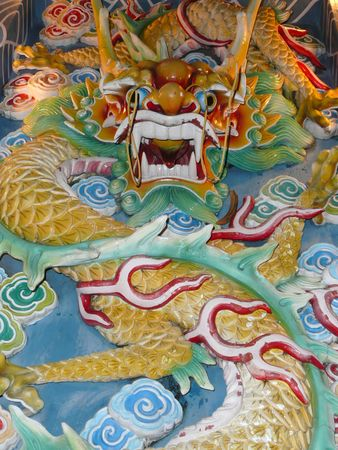 stone carving: The Colorful Dragon Stone Carving