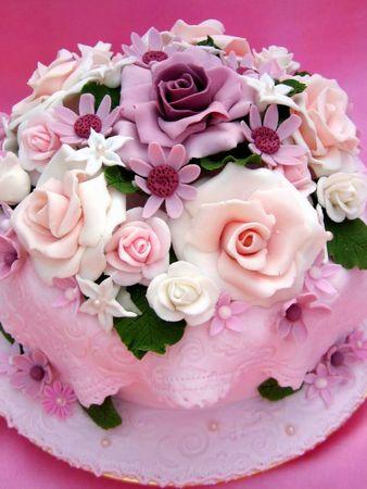 Flower Colorful Birthday Cake Stock Photo
