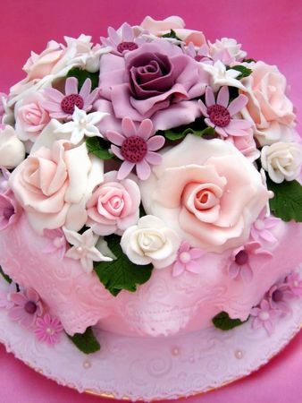 Flower Colorful Birthday Cake Stock Photo