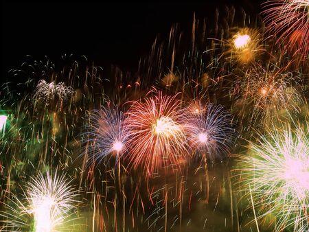 Happy Fireworks Stock Photo