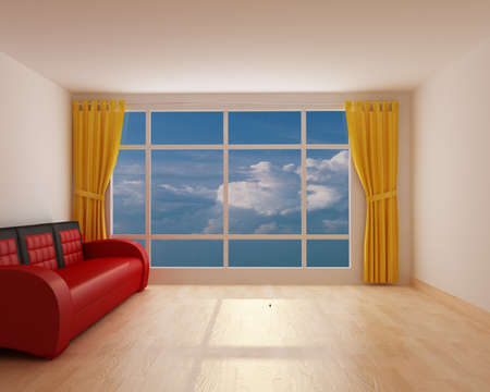 window shades: Open room with yellow window shades and red sofa Stock Photo