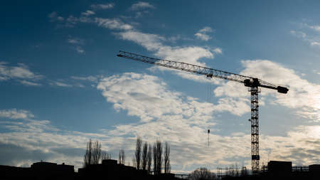 cran sillhouette at morning at a site in the city Stock Photo