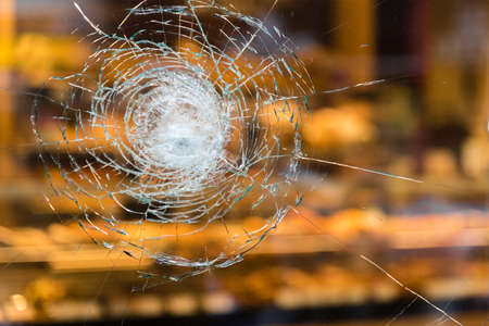 cracked window glass Stock Photo