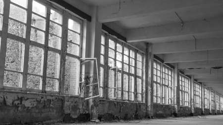 A row of old windows in an abandoned building 写真素材