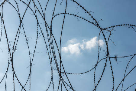 Barbed wire fence with blue sky and a cloud 写真素材
