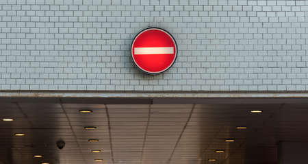 No entry into the underpass one-way street 写真素材