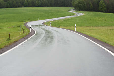 Curvy country road on the edge of the forest in the rain